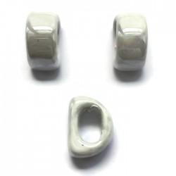 Koralik przekładka ceramiczna 20x10mm biały