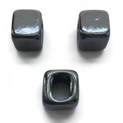 Koralik przekładka ceramiczna 15x15mm hematytowy