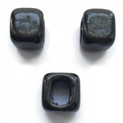 Koralik przekładka ceramiczna 15x15mm czarny brokat