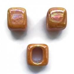 Koralik przekładka ceramiczna 15x15mm pomarańczowy