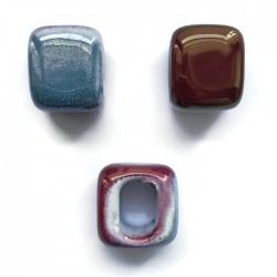 Koralik przekładka ceramiczna 15x15mm różowo-niebieski