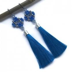 Kolczyki wyplatane ze szkła z chwostem, niebieskie