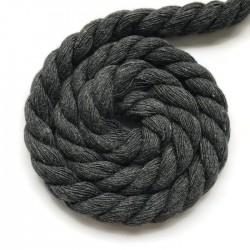 Sznurek sznur lina skręcana bawełna 10mm ciemno szary