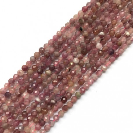 Turmalin różowy kulka 4mm sznurek