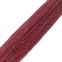 Rubin kulka fasetowana 2mm sznurek, kamień półszlachetny