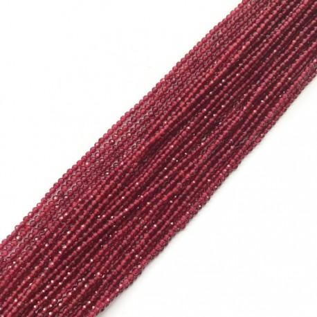 Rubin kulka fasetowana 2mm sznurek