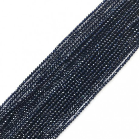 Szafir kulka fasetowana 2mm sznurek