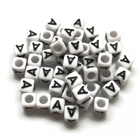 Koraliki modułowe - Literki - Alfabet literka A 6x6mm