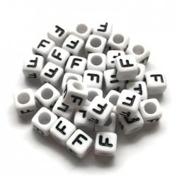 Koraliki modułowe - Literki - Alfabet literka F 6x6mm