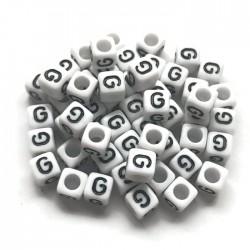 Koraliki modułowe - Literki - Alfabet literka G 6x6mm