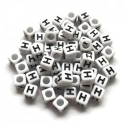 Koraliki modułowe - Literki - Alfabet literka H 6x6mm