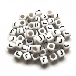 Koraliki modułowe - Literki - Alfabet literka J 6x6mm