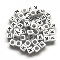 Koraliki modułowe - Literki - Alfabet literka K 6x6mm