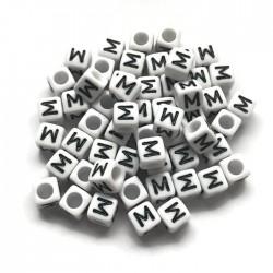 Koraliki modułowe - Literki - Alfabet literka M 6x6mm