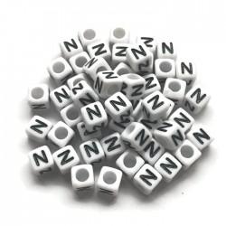 Koraliki modułowe - Literki - Alfabet literka N 6x6mm