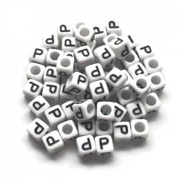 Koraliki modułowe - Literki - Alfabet literka P 6x6mm