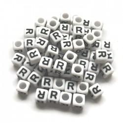 Koraliki modułowe - Literki - Alfabet literka R 6x6mm