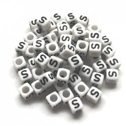Koraliki modułowe - Literki - Alfabet literka S 6x6mm