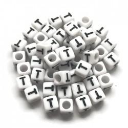 Koraliki modułowe - Literki - Alfabet literka T 6x6mm