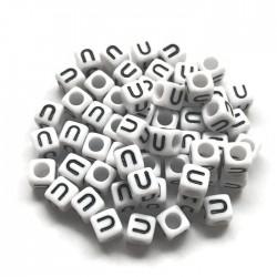 Koraliki modułowe - Literki - Alfabet literka U 6x6mm