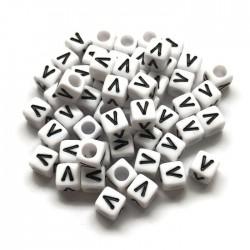 Koraliki modułowe - Literki - Alfabet literka V 6x6mm