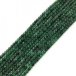 Jadeit kulka fasetowana 3mm sznurek c.zielony