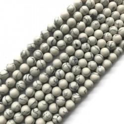Turkus syntetyczny kulka 8mm sznurek biały