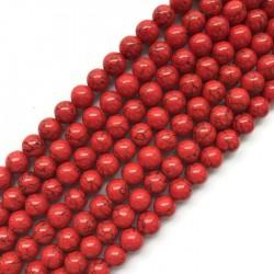 Turkus syntetyczny kulka 8mm sznurek czerwony