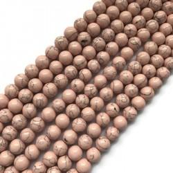 Turkus syntetyczny kulka 10mm sznurek różowy pastelowy