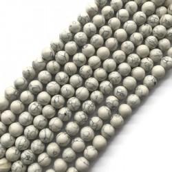 Turkus syntetyczny kulka 10mm sznurek biały