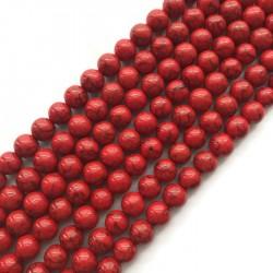 Turkus syntetyczny kulka 10mm sznurek czerwony