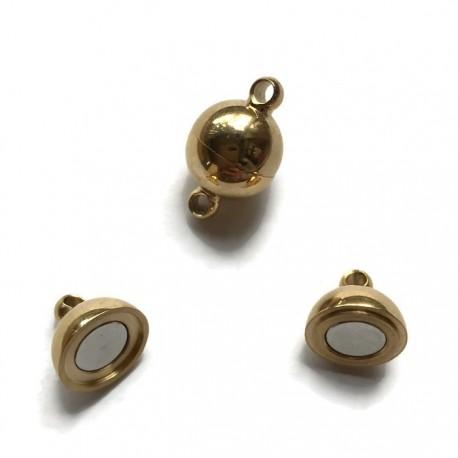 Zapięcie magnetyczne kulka 14x10mm stal nierdzewna złota