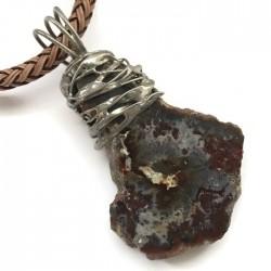 Wisior lutowany agat nieregularny, skała na rzemieniu