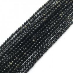 Obsydian kulka fasetowana 3-3,5mm sznurek