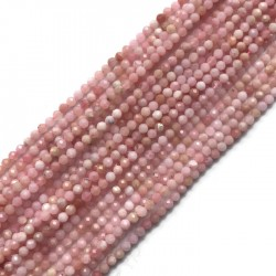 Opal różowy kulka fasetowana 3-3,5mm sznurek