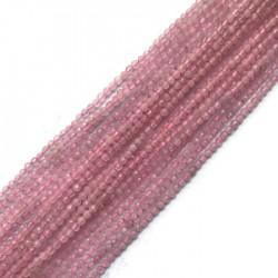 Kwarc różowy kulka fasetowana 3-3,5mm sznurek