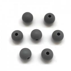 Kulki, koraliki silikonowe, gryzaki kulka 8-10mm ciemno szary
