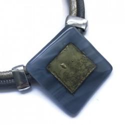 Naszyjnik szkło fusing szary ze złotym