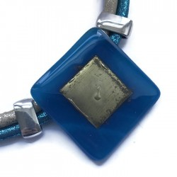 Naszyjnik szkło fusing ciemno niebieski ze złotym