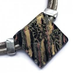 Naszyjnik szkło fusing czarny ze złotym