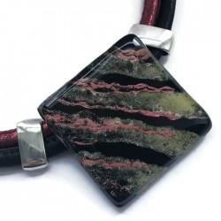 Naszyjnik szkło fusing czarny z bordowym