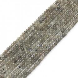Labradoryt kulka fasetowana 3-3,5mm sznurek