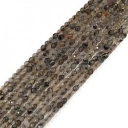 Agat kulka 4mm szary sznurek