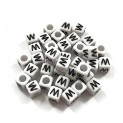 Koraliki modułowe - Literki - Alfabet literka W 6x6mm