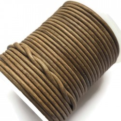 Rzemień naturalny okrągły 2mm cieniowany-ombre jasny brąz