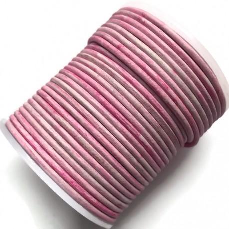 Rzemień naturalny okrągły 2mm cieniowany-ombre różowy