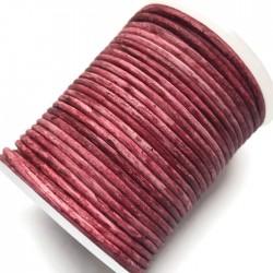 Rzemień naturalny okrągły 2mm cieniowany-ombre czerwony