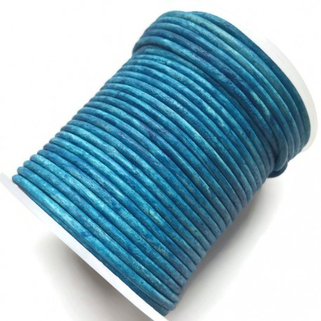 Rzemień naturalny okrągły 2mm cieniowany - ombre niebieski