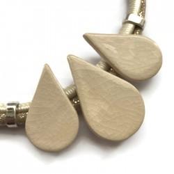 Naszyjnik z ceramiki KROPLA ecru kremowy