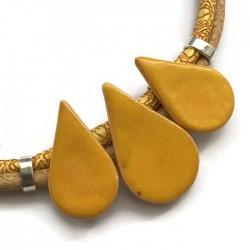Naszyjnik z ceramiki KROPLA żółty z kremowym